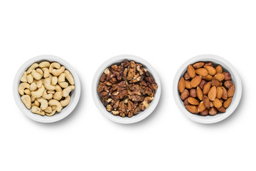 Assorted nuts isolated on white background. Isolated on white