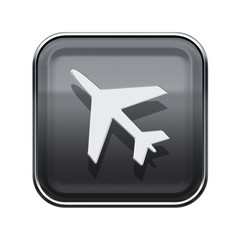 Airplane icon glossy grey, isolated on white background