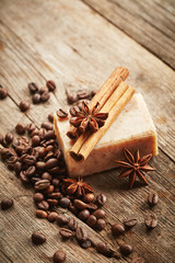 Soap with coffee beans