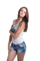 Cute slim girl posing in casual clothes