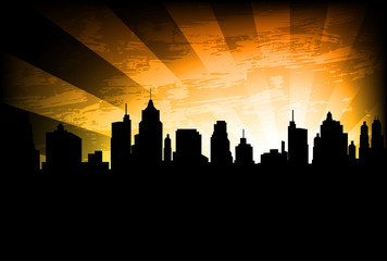 city skyline on the abstract background - vector