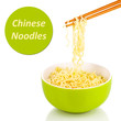 Bowl of noodles and Sample text isolated on white