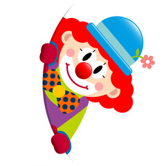 Clown Red Hair Round Banner