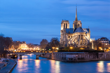 Notre Dame de Paris at dusk, France.