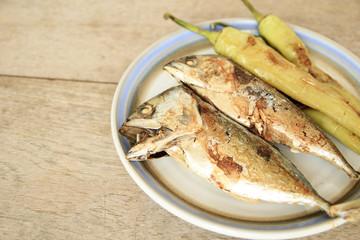 Fried mackerel on the dish