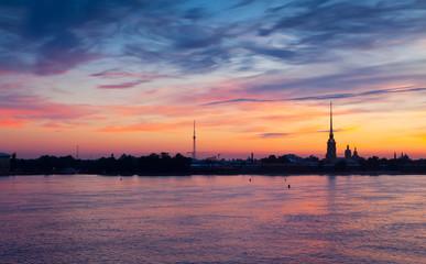 View of St. Petersburg in summer dawn