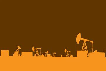 Oil pump silhouettes landscape illustration