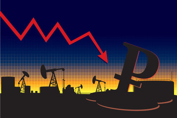 Russian currency decline oil price graph