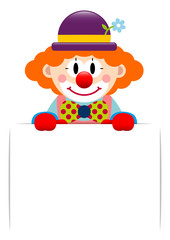 Clown Holding Label