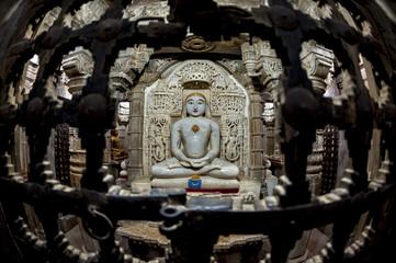 jain buddha statue in jaisalmer, india