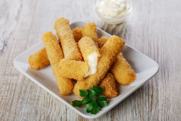 fried mozzarella cheese sticks breaded
