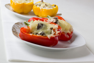Stuffed peppers with mushrooms and rice
