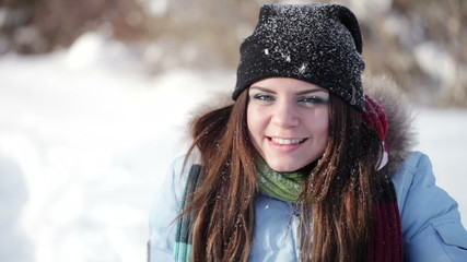 Winter girl grimaces