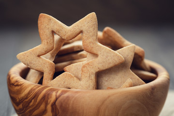 classic star cookies in wood bowl