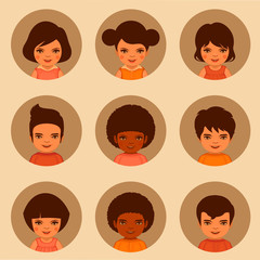 vector kids characters, boys and girls faces illustration