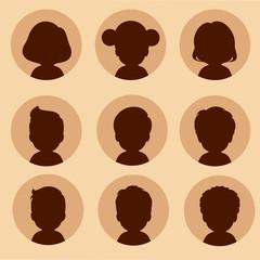 set of cartoon avatars, vector kids characters,