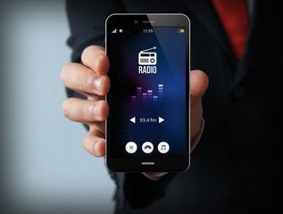 businessman with radio smartphone