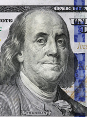 One Hundred Dollars. Benjamin Franklin portrait