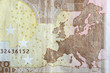 canvas print picture - Map of Europe on the reverse of Euro banknote.