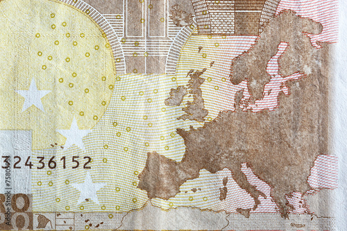 canvas print picture Map of Europe on the reverse of Euro banknote.