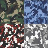 Set of seamless camouflage fabric patterns - 75806554