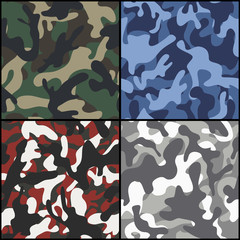 Set of seamless camouflage fabric patterns