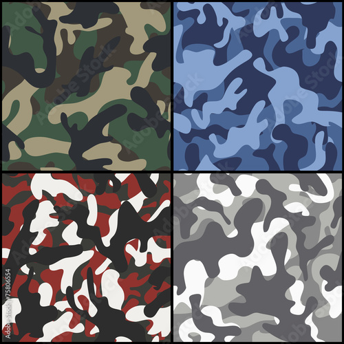 Set of seamless camouflage fabric patterns - 75806554