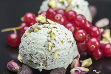 Ice-cream on a black plate