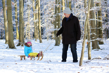 Family having fun at winter forest