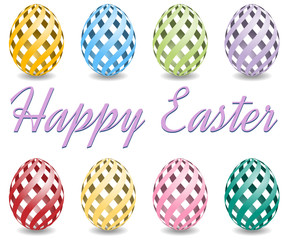 pastel colored easter eggs with shadow