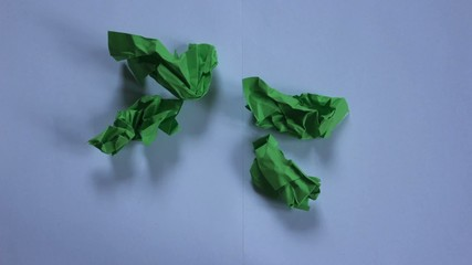 stop motion green paper opening