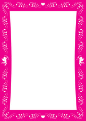 Pink amorous border with heart and cupids for Valentine day