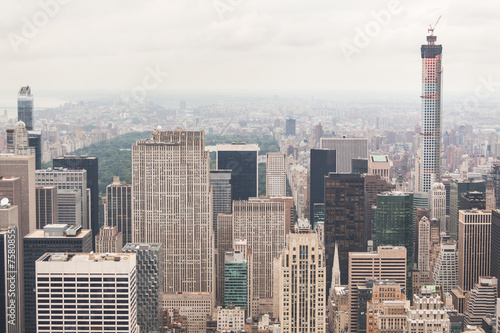 Foto op Aluminium New York New York Aerial View on a Cloudy Day