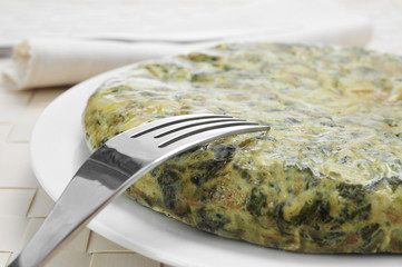 tortilla de espinacas, spanish spinach omelette