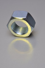 Single nut with yellow light reflection
