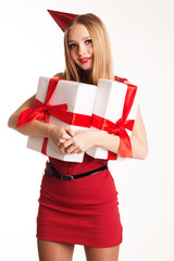 Beautiful girl holding gift boxes, happy Birthday