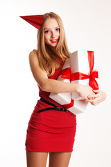 Beautiful teenager girl holding white gift boxes