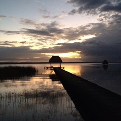 sunset at lake Peten Itza Guatemala