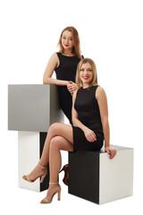 Beautiful business ladies posing in studio