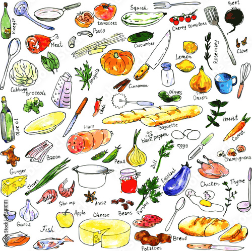 sketch of foods, utensils and kitchen equipment - 75810111