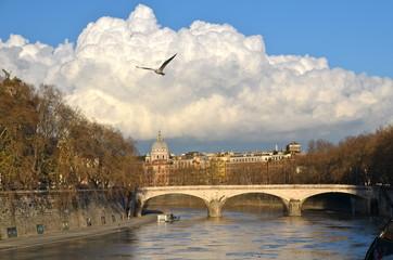 Ponte Umberto I on river Tiber in Rome