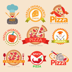 Pizzeria labels set