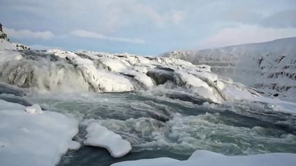 Gullfoss (Golden Falls) is a waterfall in Iceland.