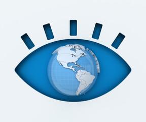 Human eye paper cut with globe