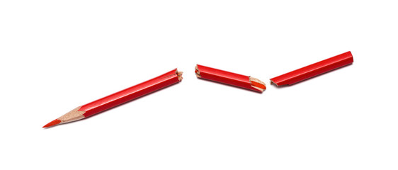 broken red pencil on a white background