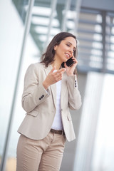 Portrait of a confident businesswoman talking on the phone.