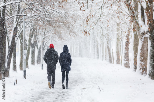 Leinwanddruck Bild Couple walking during heavy snowstorm on the alley under tree