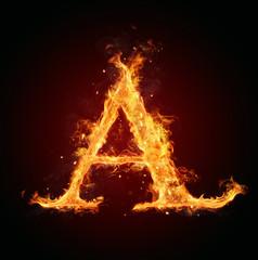 Fire letter on black background