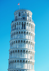Pisa, Tuscany. Detail of Leaning Tower in Square of Miracles