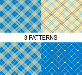 4 striped vector patterns, white and blue texture